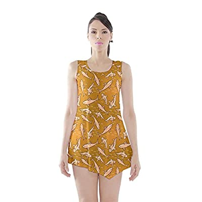 CowCow Womens Yellow Stylized Sharks Stylish Design Sleeveless Tunic Top
