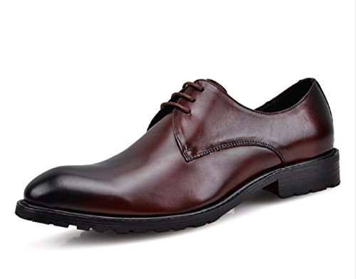 HAPPYSHOP(TM) Mens Cow Leather Pointed Toe Business Shoe Moccasin Loafers Comfort Lace-up Penny Wine Red