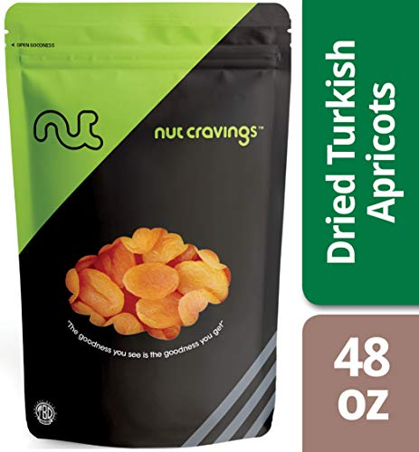 Nut Cravings Dried Turkish Apricots – Sweet, Healthy Dehydrated Fruit Snacks with No Sugar Added – 48 Ounce