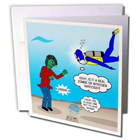 (3dRose Rich Diesslins Funny Out to Lunch Cartoons - Underwater Zombie or Scuba Diver Nitrogen Narcosis - 1 Greeting Card with Envelope)