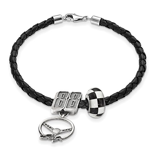 STERLING SILVER LogoArt Official Licensed NASCAR LEATHER BRACELET ONE CROSSED FLAG BEAD 88 DALE EARNHARDT JR BEAD STEERING by Logo Art