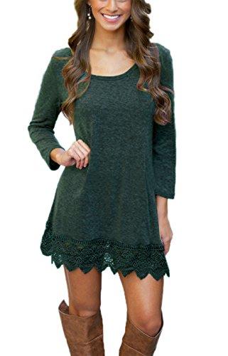 MiYang Women's Long Sleeve A-line Lace Stitching Trim Casual Dress M Green