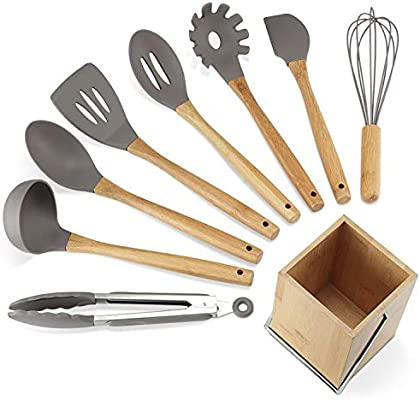 Kitchen Utensil Set,9 Pieces Cooking Utensils sets with Holder, Natural  Bamboo Handle Silicone Cooking Utensils Slotted Spatula Turner Whisk Spoon  ...