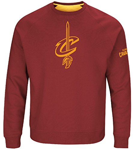 Cleveland Cavaliers Mens Garnet Team Back Up Crew Sweatshirt (Garnet Mens Sweatshirt)