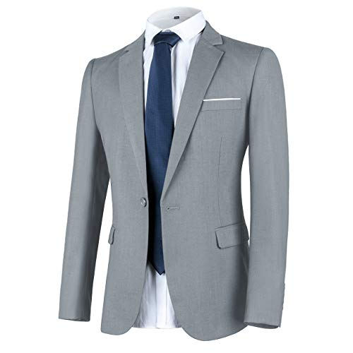 WULFUL Men's Suit Jacket One Button Slim Fit Sport Coat Casual Blazer Jacket Light ()