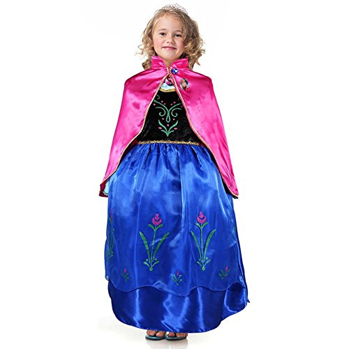 Girls Frozen Princess Anna Costume Dress up Snow Queen Party Halloween Cosplay Party Outfits with Cloak (Frozen Outfits For Kids)