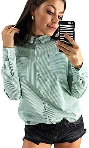 LFMDSY Blusas y Blusas para Mujer Camisa Manga Larga a Rayas Camisa Oficina con Cuello Vuelto Informal Blusa Gasa Casual Blusas túnica para Mujer: Amazon.es: Deportes y aire libre