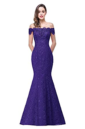 Babyonline Off Shoulder Lace Long Bridesmaid Maxi Prom Dress for Wedding CPS199