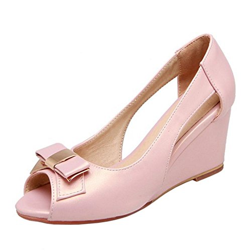 COOLCEPT Women Sweet Wedge Heel Sandals Peep Toe Shoes With Bow Slip On Pink 52B9yqliWQ