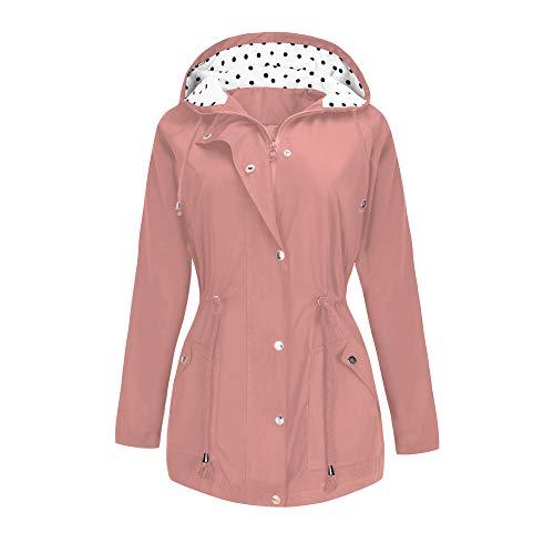 BBX Lephsnt Rain Jacket Waterproof Active Outdoor Hooded Women's Trench Coats - Raincoat Pink Hooded