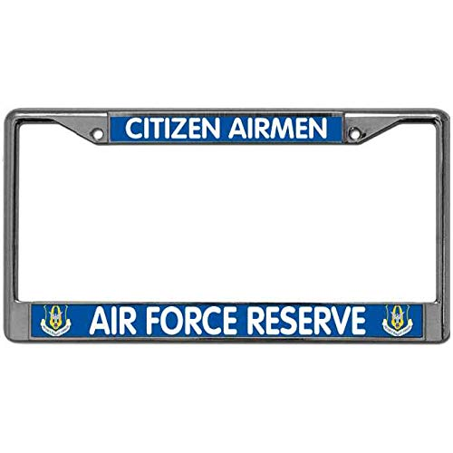 - Citizen Airmen Air Force Reserve License Plate Cover Tag Holder for US Vehicles USAF Airforce Pride License Plate Frame Metal Auto License Plate Frame