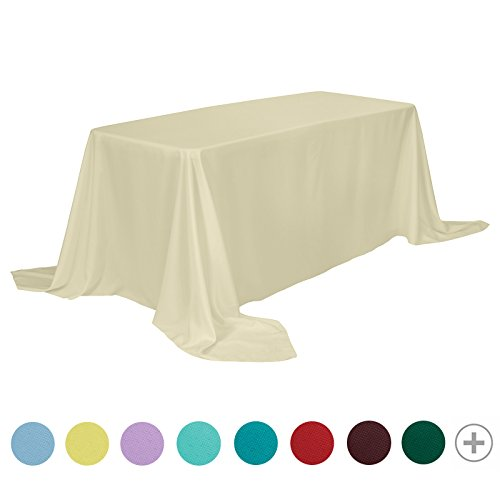Remedios Rectangle Tablecloth Solid Color Polyester Table Cloth for Meeting Table - Wrinkle Free Dinner Tablecloth for Wedding Party Restaurant Banquet (Beige, 90x156) -