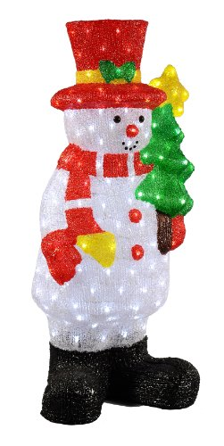 (XEPA EHX-OS1026 35-Inch Commercial Grade Acrylic Indoor/Outdoor LED Illuminated Snowman with Tree Sculpture, White)