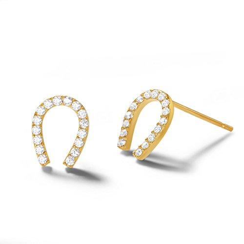Carleen 14K Solid Yellow Gold Dainty Tiny Statement CZ Cubic Zirconia Horseshoe Earrings Delicate Fine Jewelry Stud Earrings for Women Girls -