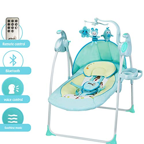 YX Baby Cradle Swing with Bluetooth and Remote Control, Rocking Music Sleeping Basket Bed Baby Crib Cradle Auto Rocking Chair Newborns Sleep Bed Baby Toddler Sleeping Rocker Cot