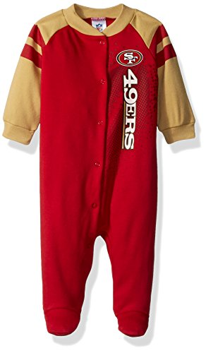 Gerber Childrenswear NFL San Francisco 49ers Boys Sleep 'N Play Dress, 6-9 Months, Red (San Francisco 49ers Miniature)