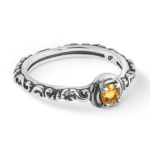 Carolyn Pollack Sterling Silver Yellow Citrine Gemstone Single Round Stone Band Ring Size 8