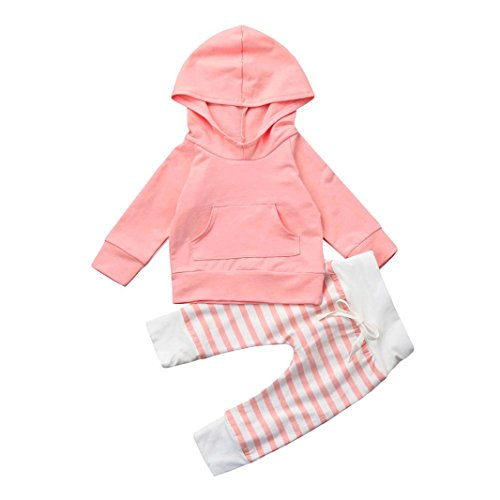 Dreammimi Baby Girls Boys Solid Clothing Set with Long Sleeve Hoodie Shirts + Striped Pant Leggings Unisex Baby Fashion Hoodies & Sweatshirts Clothing Sets Baby Sweatsuits (110CM 24Month, Pink)