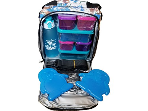 Sandwich Containers Drink Bottle Ice Packs and Large Hawaiian Blue Insulated Lunch Bag