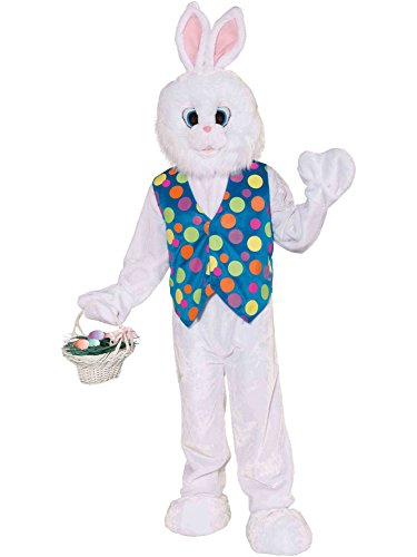 [Forum Deluxe Plush Funny Bunny Mascot Costume, White, Standard (Up To Chest Size 42)] (Halloween Costumes White Eyes)