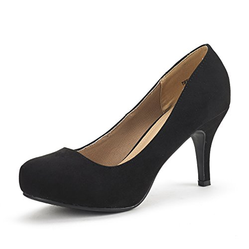 DREAM PAIRS Tiffany Women's New Classic Elegant Versatile Low Stiletto Heel Dress Platform Pumps Shoes Black Suede Size 7