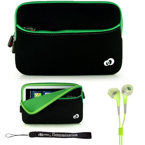 Green w/ Black Slim Design Soft Neoprene Carrying Cover Case with extra pocket for Pandigital Novel 7'' Color Multimedia White eReader + Indlues a 4-Inch Determination Hand Strap + Includes a Crystal Clear High Quality HD Noise Filter Ear buds Earphones He by eBigValue