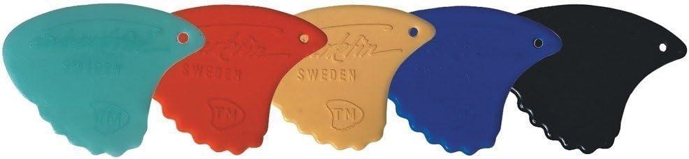Shark Fin Plectrum/Pick, Sweden Relief, 0,55 mm, Soft red, 12 Pieces (Sharkfin)