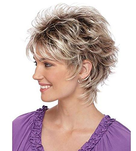 Short Layered Shaggy Haircut Full Synthetic Wig Wigs Brown Highlights (A)