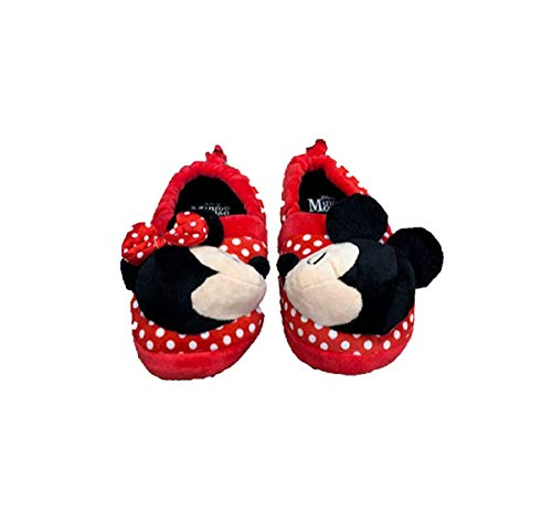 Minnie Mouse Disney Girls Mickey Mouse Slide Slippers (7-8) Red/Black]()