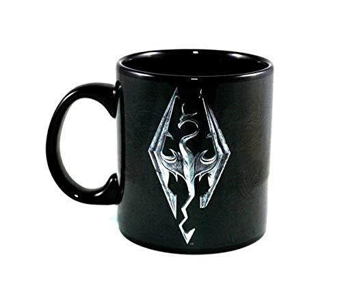 Skyrim Playstation Xbox OFFICIAL Dragon Emblem Foil-Printed Ceramic Coffee Mug Skyrim Gifts Tea Cup/Mug, 20oz