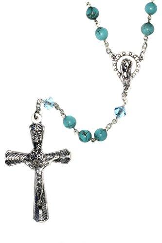 Catholic Prayer Rosary made with Magnesite Turquoise Blue Gemstones and Swarovski Crystals
