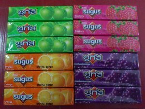 [12 Sugus Chewy Candy Candies Bar Mix Flavor Orange Raspberry, Green Apple & Grape From Thailand] (Pizza Rat Dog Costume)