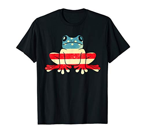 American Flag Vintage Frog Tee 4th Of July Gifts ()