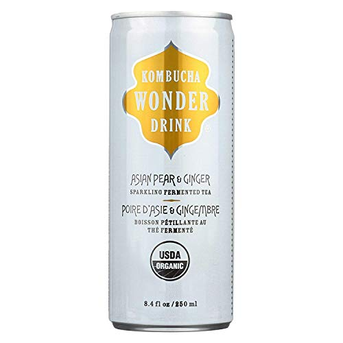 Kombucha Wonder Drink, Organic Drink; Asian Pear Ginger, Pack of 24, Size - 8.4 FZ, Quantity - 1 Case