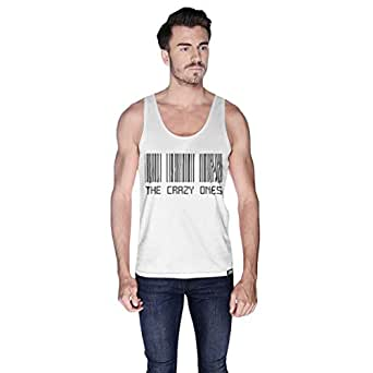 Creo White Cotton Round Neck Tank Top For Men