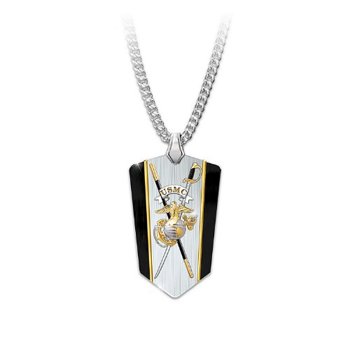 Stainless Steel with 24k Gold and Black Ion-plated Usmc Semper Fi Reversible Dog Tag Shield Pendant Necklace By the Bradford Exchange (Pendant Sword Tag Dog)