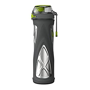 Zulu Elevate Vacuum Stainless Steel Water Bottle, Grey/Green, 20 oz
