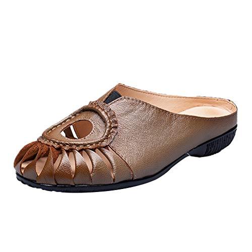 (Sherostore ♡ Women's Hollow Leather Casual Flat Slipper Soft Closed Toe Slip-On Loafer Walking Slipper Brown)