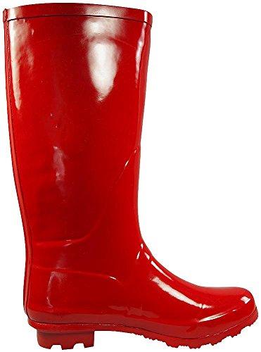 NORTY Frauen Hurrikan Wellie - 14 Feststoffe und Drucke - Glossy & Matte Wasserdicht Hallo-Kalb Rainboots rot