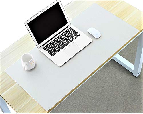 Desk Mat Blotter Table Protector Pad on Top of Office Desks Laptop Computer Desktop Accessory Decoration Cover Under Keyboard Large Mousepad Pads for Men Girl Women Kids PU Leather White 16 x 32 Inch (Desk White Leather Blotter)