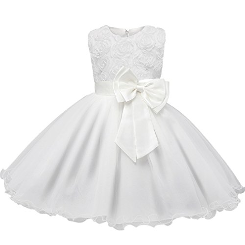 Niyage Girls Party Dress Princess Flowers Glitter Wedding Dresses Toddler Baby Pageant Tulle Tutus 3-6 M White