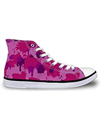 Sneakers for Women Canvas Durable High Top Easy Walking Shoes Camo Pink Size 11