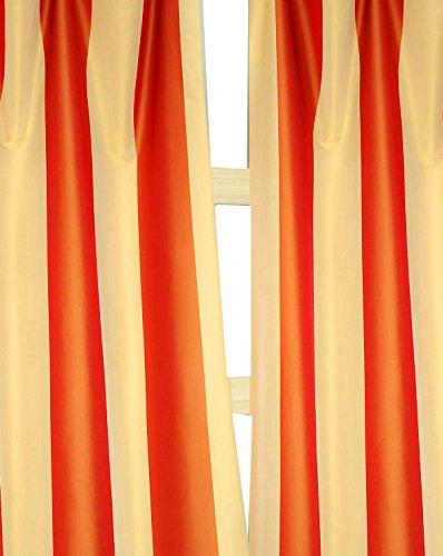 Gold & Orange Stripes Faux Silk Taffeta Lined Rod Pocket Window Curtain Panel Drape (52″W X 120″L) For Sale