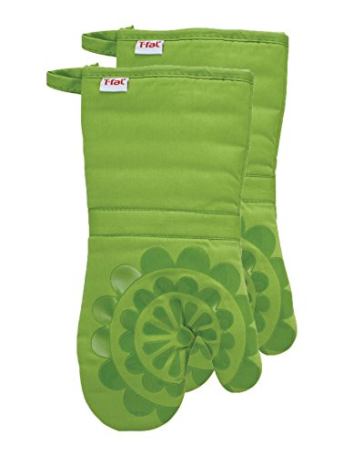 Green Oven Mitt - T-fal Textiles 97169 2-Pack Medallion Design 100-Percent Cotton and Silicone Oven Thumb Mitt, Green