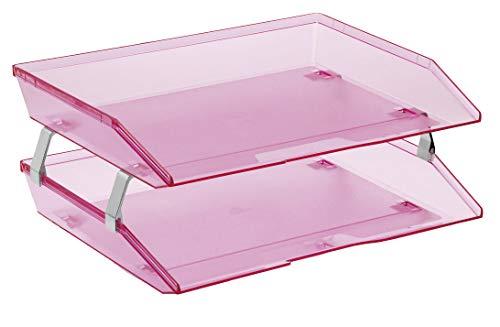 Acrimet Facility 2 Tier Letter Tray Side Load Plastic Desktop File Organizer (Clear Pink Color)