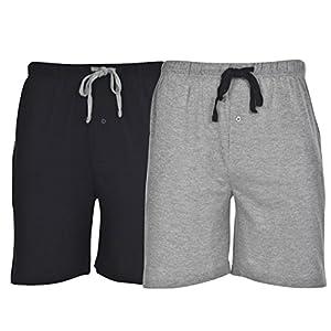 Hanes 01005-010052X Mens Jersey Lounge Drawstring Shorts With Logo Waistband Size Medium44; Active Grey Heather & Black44; Pack 2