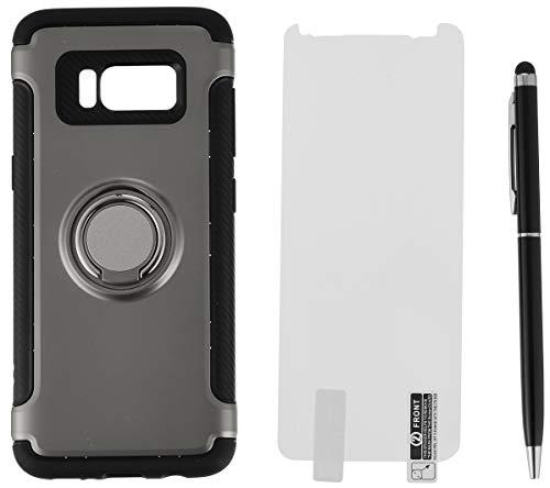 Galaxy S8 케이스 링&메탈 플레이트 부착TPU케이스【강화 유리 부착】3점 세트 SAMSUNG(삼성) 그레이 3349-1-07