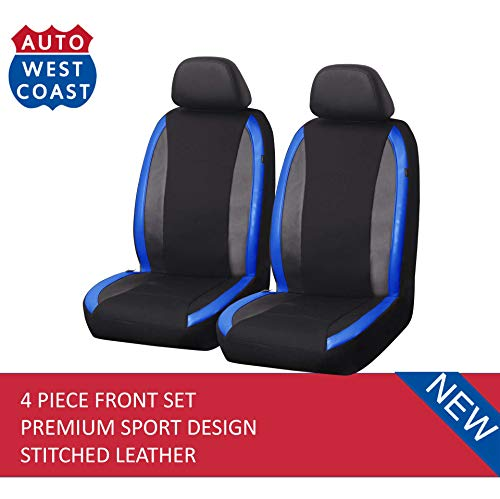 Cover Seat Blue Front (West Coast Auto Car Seat Covers Set for Auto, Truck, Van, SUV - Premium Level Leather Sports Design, Airbag Compatible, Universal Fit (4 Pieces Front Blue))