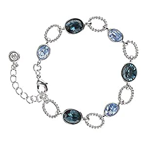 Oliver Weber Women's Rhodium Monte Blue Bracelet