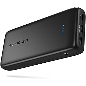Portable Charger 32000 RAVPower 32000mAh Power Banks 6A Output, External USB Battery Pack for iPhone X, iPhone 8, Galaxy and More (3-Port, 2.4A Input, Triple iSmart 2.0 USB)